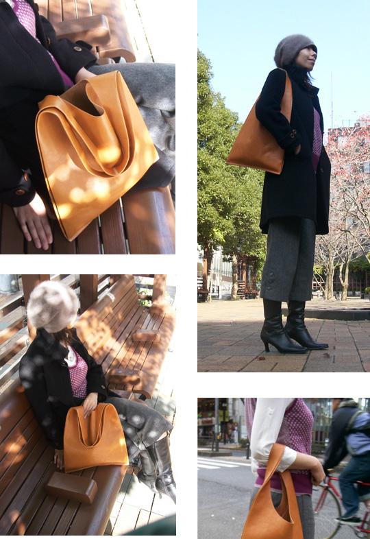 手作り革製バッグ(Shopping bag)